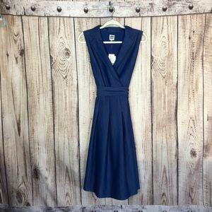 NWT ANNE Klein Chambray Tie Waist Midi Dress